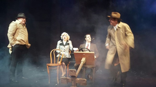 (L to R) Thomas C. Hessenauer, Tatiana Dalton, Charles Lidard, and Patrick Martyn in The 39 Steps at Dundalk Community Theatre