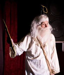 "Rich Potter, as the Creator of the Universe, has a last-minute deadline frenzy, in""God: The One Man Show""at Greenbelt Arts Center, Feb 19-28, 2016www.GodTheOneManShow.com"