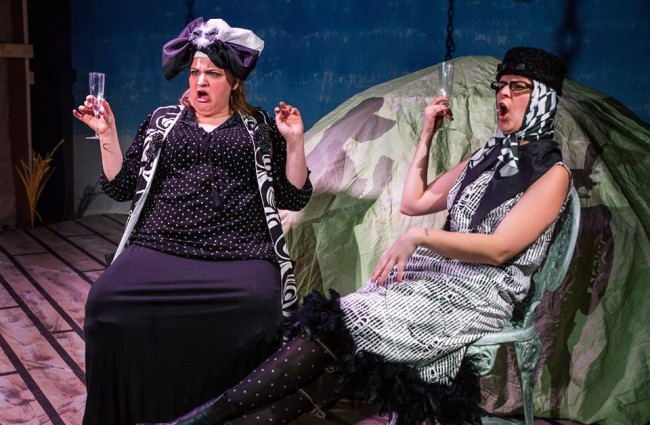 Amanda Spellman (left) as Aunt Sponge and Katie Rattigan (right) as Aunt Spiker in James and the Giant Peach at Maryland Ensemble Theatre