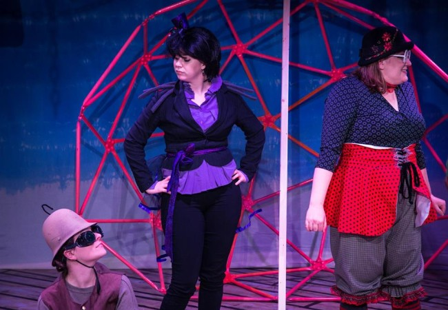 Katie Rattigan (left) as Earthworm, Emily Raines (center) as Miss Spider) and Amanda Spellman (right) as Ladybird in James and the Giant Peach