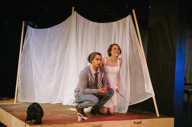 Jeff Keilholtz (left) as Con and Devin Gaither (right) as Nina in Stupid Fucking Bird at Maryaldn Ensemble Theatre