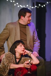 Jack Evans (above) as Trigorin and Julie Herber (below) as Emma in Stupid Fucking Bird at Maryland Ensemble Theatre
