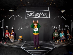 "Jon Kevin Lazarus (center) and the ensemble of ""...Spelling Bee"" at Stillpointe Theatre"