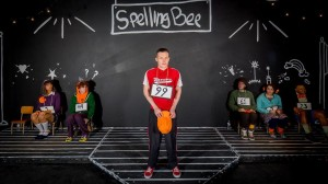 "Corey Hennessey (center) as Chip Tolentino with the ensemble of ""...Spelling Bee"" at Stillpointe Theatre"