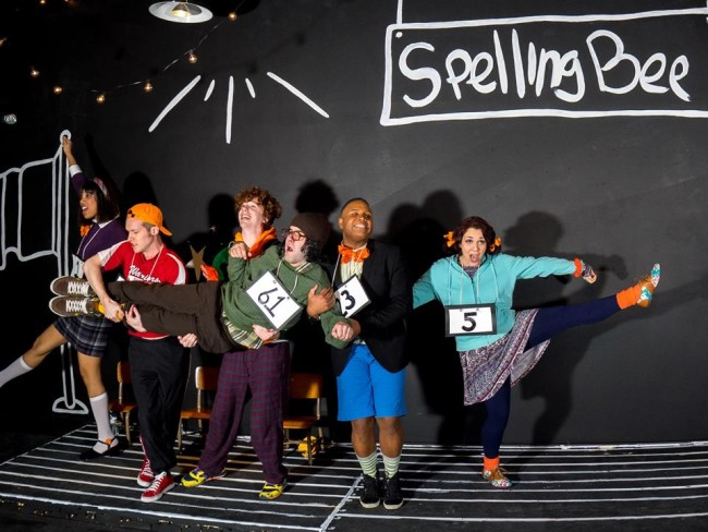 (L to R) Ciera Monae as Marcy Park, Corey Hennessey as Chip Tolentino, Jon Kevin Lazarus as Leaf Coneybear, Ryan Haase as William Barfee, Darius McKeiver as Logainne, and Ashleigh Haddad as Olive Ostrosky