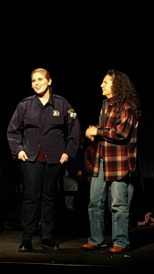 Lena Winter (left) as Reggie Fluty and Susan S. Porter (right) as Marge in The Laramie Project at Kensington Arts Theatre