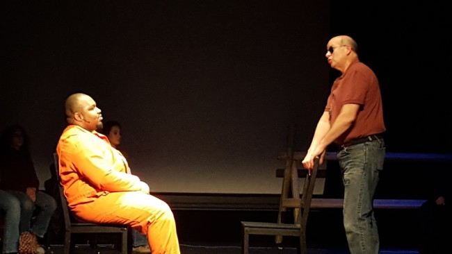 Shaquille Stewart (left) as Aaron McKinney and Bob Harbaum (right) as Rob Debree in The Laramie Project at Kensington Arts Theatre