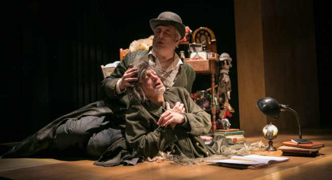 Edward Christian (left) as Centaur and Michael Russotto (right) as Chronicler in Falling Out of Time at Theater J