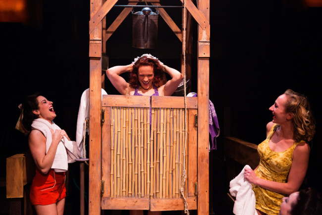 Teresa Danskey (center) as Nellie Forbush in South Pacific at Toby's Dinner Theatre