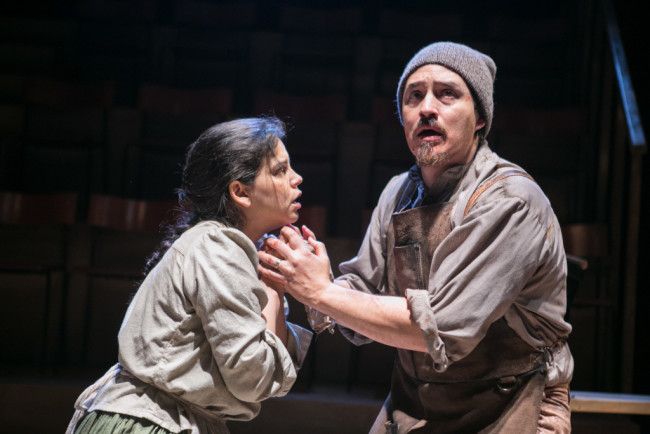 Nora Achrati (left) as Midwife and Rafael Untalan (right) as Cobbler in Falling Out of Time at Theater J