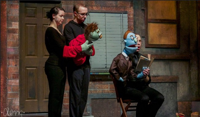 Will Poxon (left) as Nicky and Kevin James Logan (right) as Rod in Avenue Q at Phoenix Festival Theater Company