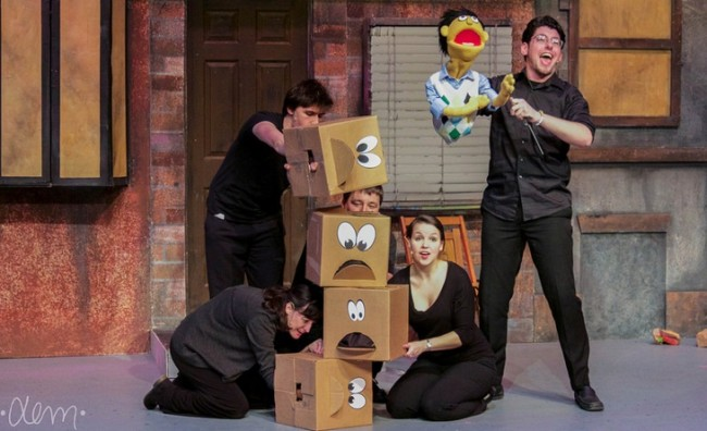 "The ensemble of Avenue Q (L- Amanda Dickson, Samantha Murray, Josh Schoff, Matthew Wolffe) and William Meister (right) as Princeton singing ""Purpose"""