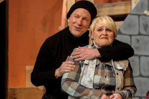 Don Patterson (left) as Selsdon and Parker Bailey Steven (right) as Poppy in Noises Off