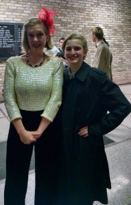 TheatreBloom Reviewer Amanda N. Gunther (left) and Dylan Kaufman (right) as Emcee after Cabaret at The Highwood Theatre