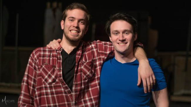 Zach Rogers (left) and Carl Pariso (right) posing during rehearsal for The Little Mermaid at Milburn Stone Theatre