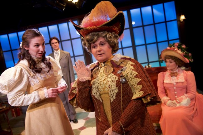 (L to R) Teresa Spencer as Cecily, Brian Keith MacDonald as Mr. Worthing, Laura Giannarelli as Lady Bracknell, and Renata Plecha as Gwendolen in The Importance of Being Earnest