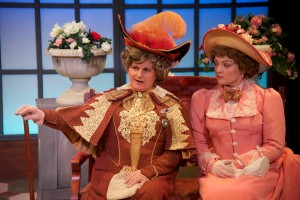 Laura Giannarelli (left) as Lady Bracknell and Renata Plecha (right) as Gwendolen in The Importance of Being Earnest