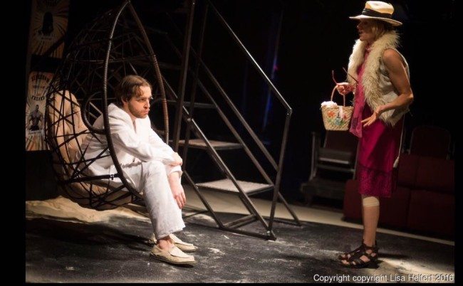 Grant Cloyd (left) as Michael and Karin Rosnizeck (right) as Nena in Fur at Venus Theatre