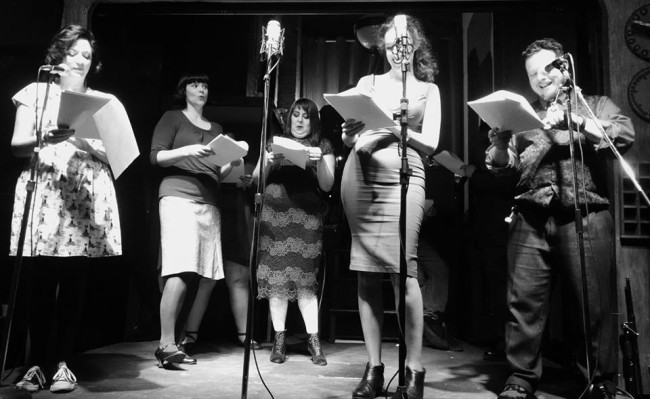 (L to R) Lori Travis as Mary, Katie Rouse as Eugenia, Christina Green as Lily, Emily Ward as Caroline, and Todd Gardner as Harold in The Spirits Awaken by Shelly Burke