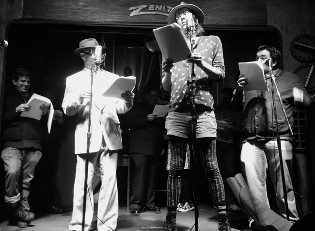 (L to R) Chaz Kedesla as Giddeon66, Craig Coletta as Bennington Marcus, Jeffrey Gangwisch as Theodore16, and John Bennett as The Chief in The Music of Chrome: A Bennington Marcus Mystery by John Higgins