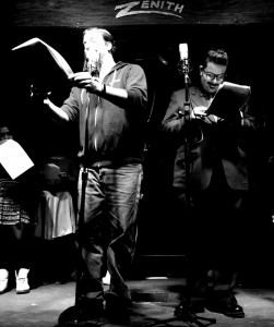Chris Allen (left) reading as Horatio Dark and Aaron Travis (right) as the Radio Announcer