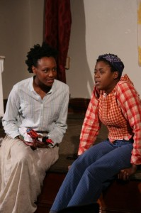 Aladrian Wetzel (left) as Mimi an Monique Ingram (right) as Harry in Harry and the Thief at Strand Theater Company