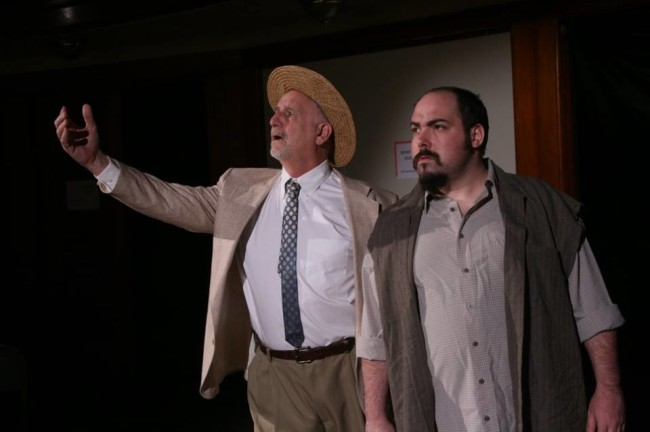 Frank Mancino (left) as Orry Main Scarlet and Alexander Scally (right) as Overseer Jones in Harry and the Thief at Strand Theater Company