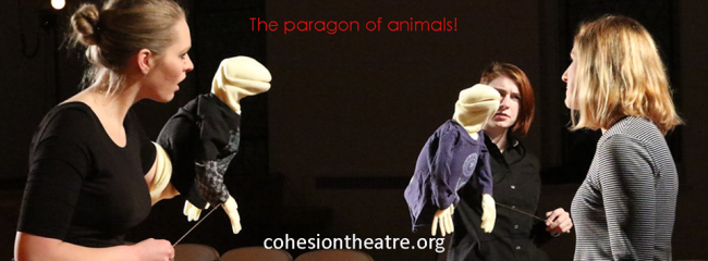 Casey Dutt (left) as Rosencrantz, Jane Jongeward (center) as Guildenstern and Caitlin Carbone (right) as Hamlet in Hamlet at Cohesion Theatre Company