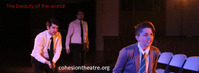 Matthew Payne (left) Jeff Miller (center) and Melanie Glickman (right) as Laertes in Hamlet at Cohesion Theatre Company