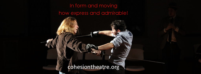 Caitlin Carbone (left) as Hamlet and Melanie Glickman (right) as Laertes in Hamlet at Cohesion Theatre Company