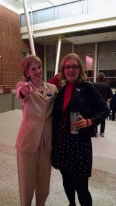 "Susan Dye (left) as ""This Hillary"" and TheatreBloom reviewer Amanda N. Gunther (right) after ""Red, White, & Voters' Blues"""