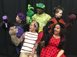 The Insects- (from top left, clockwise) Gwen Lowell as Spider, Jared Alston Davis as Grasshopper, Jacqueline Hicks as Centipede, Anderson Gray as Ladybug, and Jocelyn Castillo as Earthworm