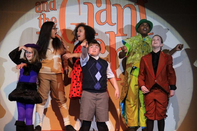(L to R) Gwen Lowell as Spider, Jocelyn Castillo as Earthworm, Anderson Gray as Ladybug, Zachary Byrd as James, Jared Alston Davis as Grasshopper, and Jacqueline Hicks as Centipede in James and the Giant Peach