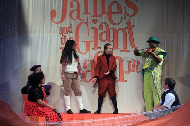 (L to R) Anderson Grey as Ladybug, Gwen Lowell as Spider, Jocelyn Castillo as Earthworm, Jacqueline Hicks as Centipede, Jared Alston Davis as Grasshopper, and Zachary Byrd as James in James and the Giant Peach