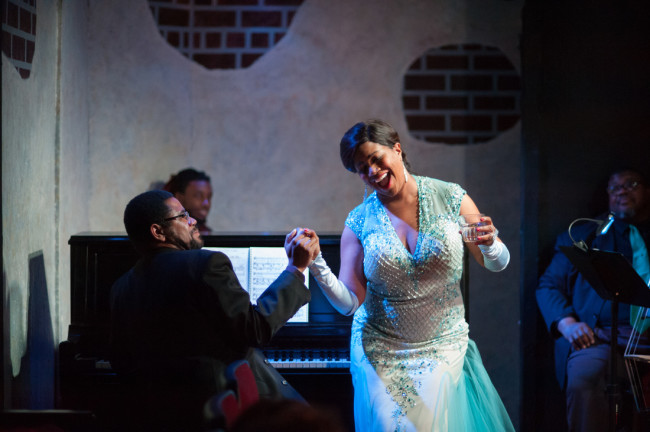LeVar Betts (left) as Jimmy Powers and Anya Randall Nebel (right) as Billie Holiday in Lady Day at Emerson's Bar & Grill