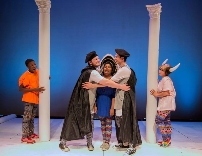 (L to R) Jalon Payton, Christian Fisher as Menaechmus, Anjali Cornish as Messenio, Giustino Puliti as Menaechmus, and CeCe Heck in The Menaechmi Twins