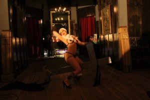 Sister Ruby Rockafella getting on the stations of the cross at Res-Erection by Twisted Knickers Burlesque