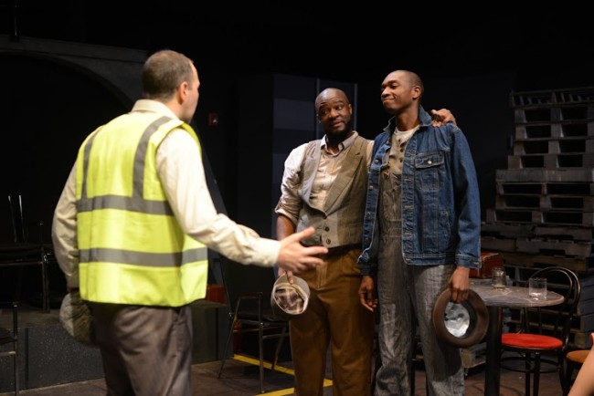 Paul Diem (left) Samuel Dumarque Wright (center) and Christopher Dews (right) in Something Like Jazz Music at Single Carrot Theatre