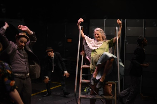 Paul Diem (left) Dustin C.T. Morris (center) and Nancy Linden (right) in Something Like Jazz Music at Single Carrot Theatre