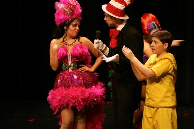 Hannah Gutin-Creech (left) as Mayzie La Bird, Joseph Haddad (center) as Cat in the Hat and Logan Dubel (right) as Jojo in Seussical the Musical