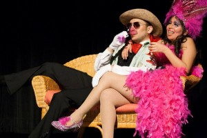 Joseph Haddad (left) as Cat in the Hat and Hannah Gutin-Creech (right) as Mayzie La Bird in Seussical! The Musical