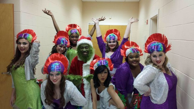 The Bird Girls and The Grinch (center- Thomas Ogar) of Seussical! The Musical at Charm City Players