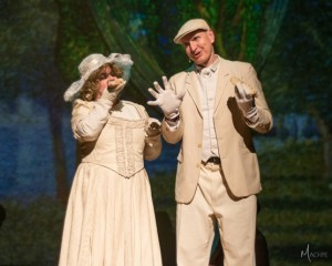 Jen Lee Trone (left) as Mrs. and Phil Hansel (right) as Mr. in Sunday in the Park with George at Milburn Stone Theatre