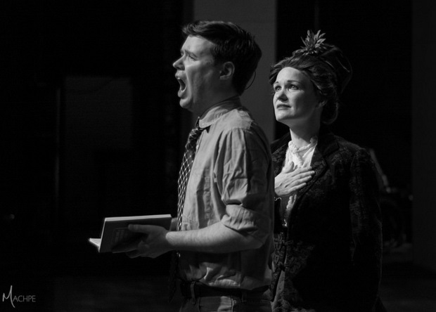 Ben Bouton (left) as George and Lauren Spencer-Harris (right) as Dot in Sunday in the Park with George