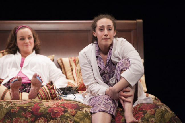 Emily Townley (Lucinda) and Shayna Blass (Charlotte) in The Mystery of Love and Sex at Signature Theatre