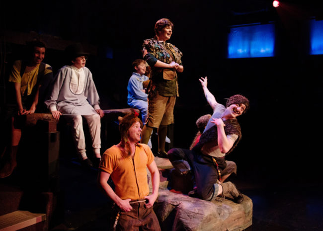 MaryKate Brouillet (center) as Peter Pan with Jordan Moral (back left) as Tootles,  Brian Rusk (back center) as John Darling, Gavin Willard (back right) as Michael Darling, AJ Whittenberger (front left) as Slightly and Chris Rudy (front right) as Nibs in Peter Pan