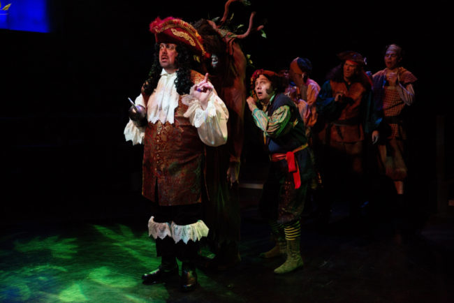 David Bosley-Reynolds (left) as the Pirates of Neverland in Peter Pan at Toby's Dinner Theatre