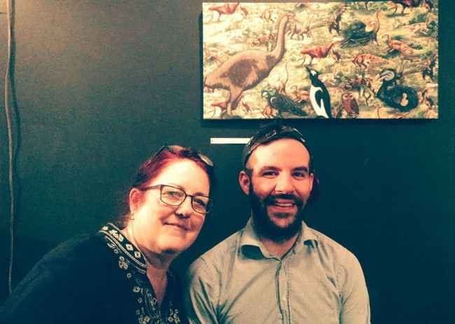 """Alix Tobey Southwick (left) and Artistic Director Ryan Haase at Stillpointe Theatre for """"Imaginary Friends"""" gallery exhibition"""