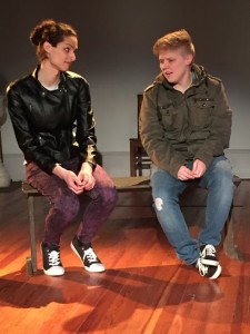 Erica Burns (left) as Jane and Logan Davidson (right) as Nora in Aphorisms on Gender at Cohesion Theatre Company