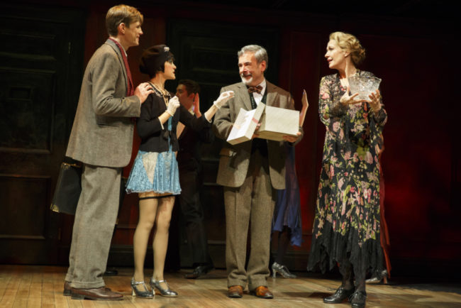 (L to R) Lee Aaron Rosen as Clifford Bradshaw, Andrea Goss as Sally Bowles, Mark Nelson as Herr Schultzand Shannon Cochran as Fräulein Schneiderinthe 2016 National Touring productionof Roundabout Theatre Company's CABARET